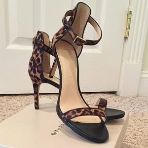 Leopard print & black leather BR ankle strap heel